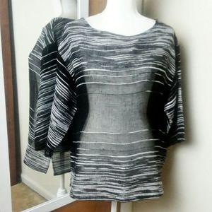 Eileen Fisher Organic Linen Mesh Half Sleeve Top